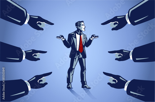 Tela Many Hands Pointed at Businessman, Business Illustration Concept of Blaming Peop