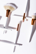 Flat Lay With Cosmetic Brushes...