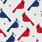Red cardinal and Blue jay seamless pattern, vector illustration background - 385515233