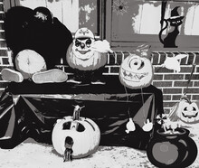 Trick-or-treating Peeking Pumpkin And Friends Hangout For Halloween Illustrated In Black And White.