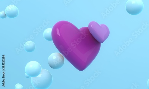 Two black hearts flying in the air on blue background with floating spheres. Modern cover design. 3d illustration.
