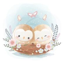 Cute Two Little Owls On A Nest