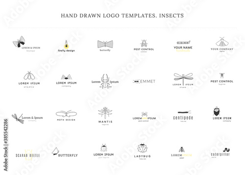 Leinwand Poster Set of vector hand drawn simple logo templates with insect icons.