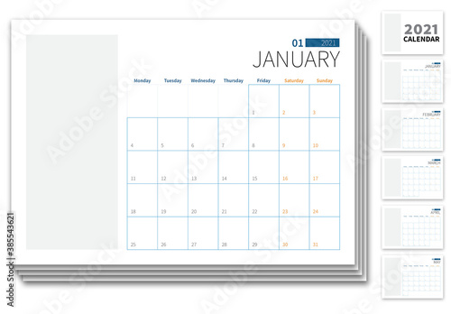 2021 Calender Planner with Blue and Yellow Accents
