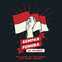 Hari Sumpah Pemuda, 28 Oktober. Translation : October 28, Happy Day Youth Pledge Of Indonesia. Vector Illustration.