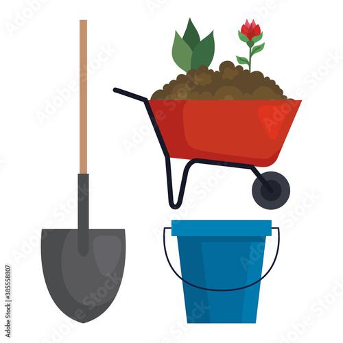 Obraz Gardening shovel wheelbarrow and bucket design, garden planting and nature theme Vector illustration - fototapety do salonu