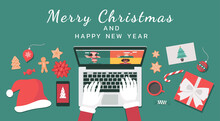 Santa Claus Hand Using A Laptop To Meeting Online With People Via Video Calling And Virtual Discussing On Christmas Holiday With Merry Christmas And Happy New Year Text, Vector Flat Lay Illustration