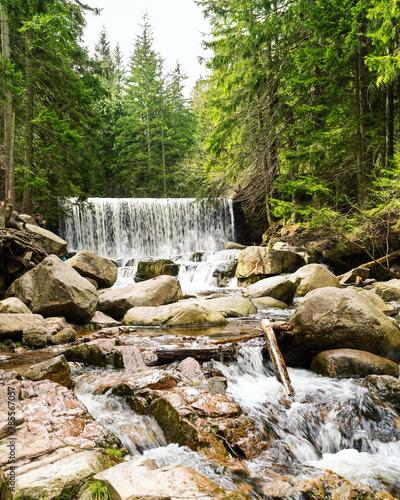 Fototapeta Wild waterfall, polsih mountains, Dziki Wodospad, Karpacz, Poland obraz