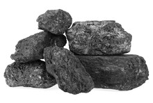 Pile Of Black Coal Isolated On A White Background. Industrially Mined Coal.