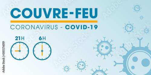 Couvre-feu dans les grandes métropoles de France - pandémie du coronavirus covid-19 - déplacement interdit de 21h à 6h - icône de pendule - illustration vectorielle