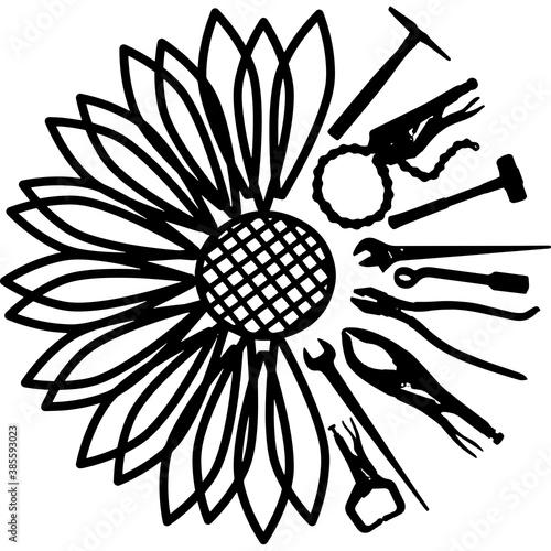 Valokuva Sunflower Ironworker Tools Silhouette Vector