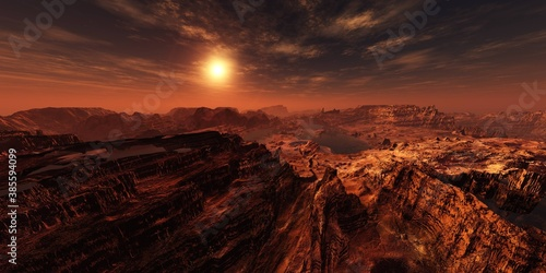 Obraz Martian channels, Mars planet surface at sunset, Alien surface of the planet at sunrise, Martian sunset, Mars at sunset, Sunrise on Mars, 3D rendering  - fototapety do salonu