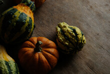 Top View Of Autumn Gourds With...