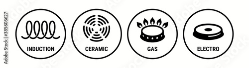 Stampa su Tela Induction icon, ceramic, gas and electric cooking hob vector symbols
