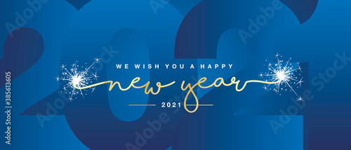 Obraz na plátne We wish you Happy New Year 2021 handwritten lettering tipography line design spa