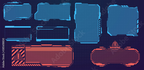 Fototapeta Warning frame. Abstract tech design Blue and red futuristic frame in modern HUD style background. Digital info boxes layout templates. High tech screen for video game. Sci-fi concept design. Vector obraz