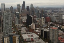Seattle City Panorama. Aerial Landscape View. High Commercial Buildings. Residential Area.