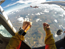 Point Of View Of A Parachutist, At The Airplane Door, Of Another Aircraft In Mid-flight.