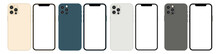 New Smartphone 12 Pro, 12 Pro Max Mockup Screen Template. Stock Vector