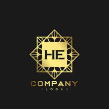 HE Premium Monogram Letter Initials Logo. Minimalist Symbol Icon Vector Design. Luxury Logotype Template.