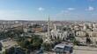 Golden Mosque Tower Minaret in Beit Hanina, Aerial view Palestinian Muslim Mosque Masjed aldaoa, Drone image