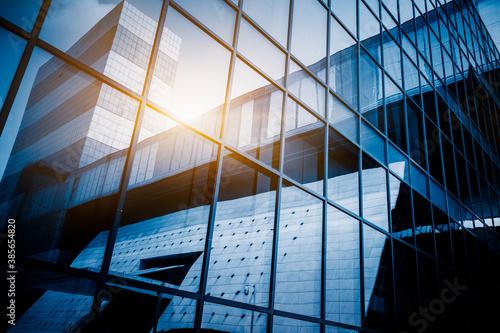 Urban abstract - windowed corner of office building. Fototapeta