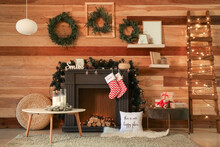 Decorated Fireplace In Interio...