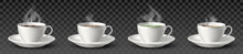 3d Realistic Vector Collection Of White Cups With Coffee, Black Tea, Green Tea And Cappuccino. Isolated On Transparent Background.