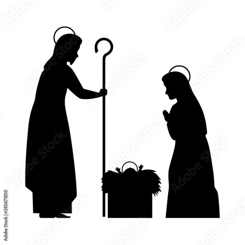 Obraz na plátně merry christmas mary joseph and baby jesus silhouette design, nativity winter se