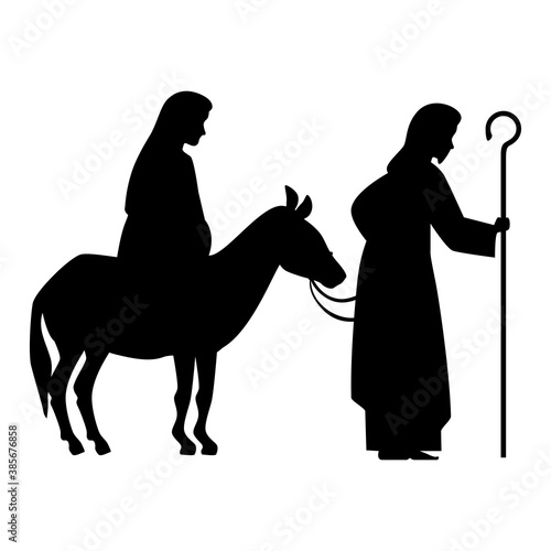 Tela merry christmas mary pregnant on donkey and joseph silhouette design, nativity w