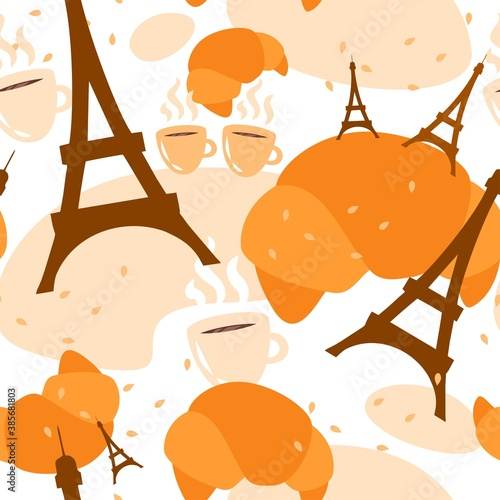 Slika na platnu french seamless pattern pastries croissant eiffel tower coffee simple vector