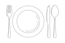 Silverware Line Art Icon Set Isolated On White Background. Top View Lineart Cutlery - Fork Knife Spoon And Serving Plate Design Template. Vector Flat Design Outline Style Logo Illustration.