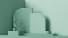 Minimal Scene With Podium, Cactus And Abstract Background. Pastel Blue And Green Colors Scene. Trendy 3d Render For Social Media Banners, Promotion, Cosmetic Product Show. Geometric Shapes Interior.