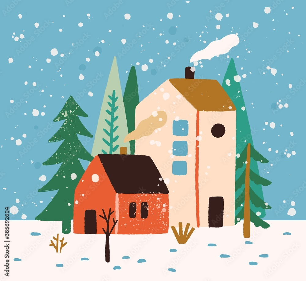 Fototapeta Hand drawn winter landscape with houses, trees and snowflakes vector flat illustration. Colorful rustic buildings exterior surrounded by snow and forest. Seasonal countryside scenery, wintertime mood