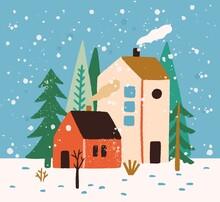 Hand Drawn Winter Landscape Wi...