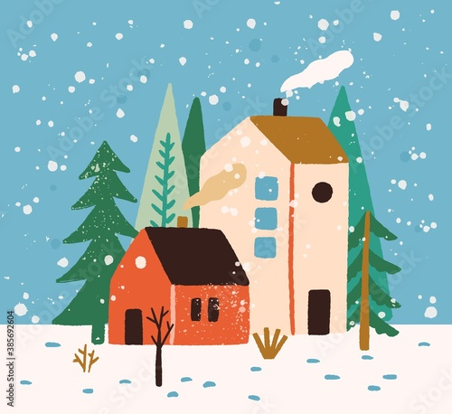 Obraz Hand drawn winter landscape with houses, trees and snowflakes vector flat illustration. Colorful rustic buildings exterior surrounded by snow and forest. Seasonal countryside scenery, wintertime mood - fototapety do salonu