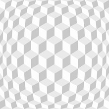 Abstract Grid Of Cubes With Distortion Effect. Optical Illusion. Digital Geometric Style. Background For Business Cards And Covers