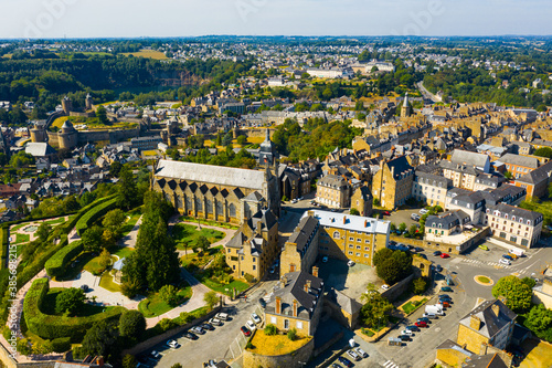 Scenic view from drone of upper town of Fougeres overlooking Flamboyant Gothic parish church of St Canvas Print