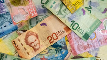 Close Up View Of The Costa Rica Currency Bills