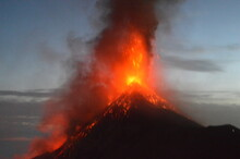 The Volcano Fuego Erupting With Exploding Lava, Magma And Ashes In Guatemala