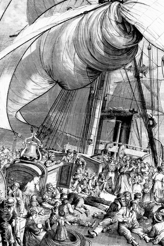 From Europe to America, appearance of the deck of an emigrant ship Canvas Print