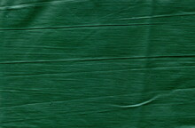 The Texture Of The Fabric Is Uneven, Unglazed Green. Rough Cotton Fabric Of Dark Green Color.