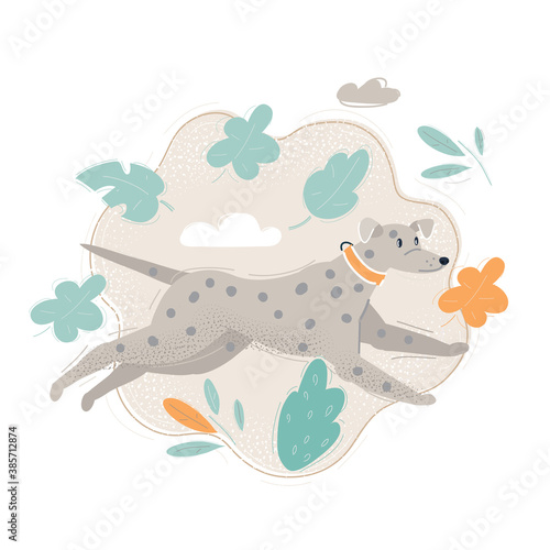 Canvastavla Vector illustration of A happy dog running fast in a park