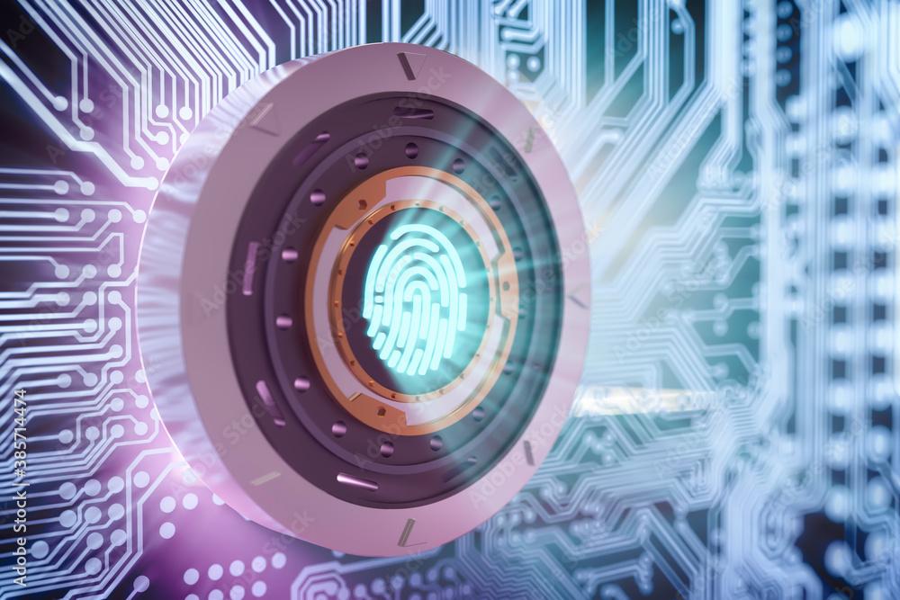 Fototapeta Cyber security concept safe and firngerprint