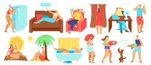 Hot Summer Heat Day Vector Illustration Set. Cartoon Flat People Sunbathing On Tropical Beach In Heat, Overheating Man Woman Character Sitting At Home Or Office With Air Conditioner, Cooling Under Fan