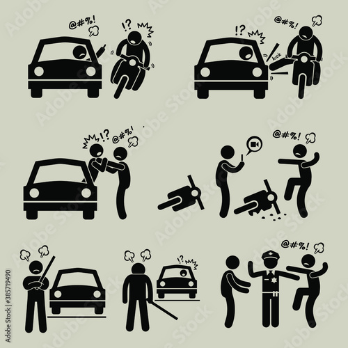 Stampa su Tela A set of human pictogram representing road bully having a scuffle with another driver