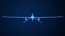 UAV IHA Predator Reaper Plane Wireframe Glowing 3D Rendering