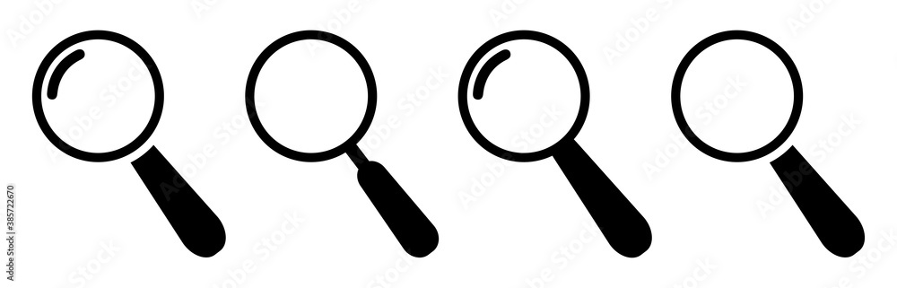 Fototapeta Search icons design.Magnifying glass icon isolated.Search icons flat for apps and websites design.Magnifier or loupe sign set vector illustration.