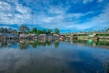 Khlong Hae Floating Market-Hat Yai:26September2020,atmosphere At The Waterfront Community Market,local Products And Tourists Come To Stop For A Meal Or Buy Souvenirs,Khlong Hae,Songkhla,thailand