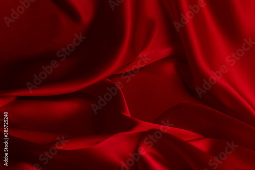 Fotografie, Obraz Red silk or satin luxury fabric texture can use as abstract background